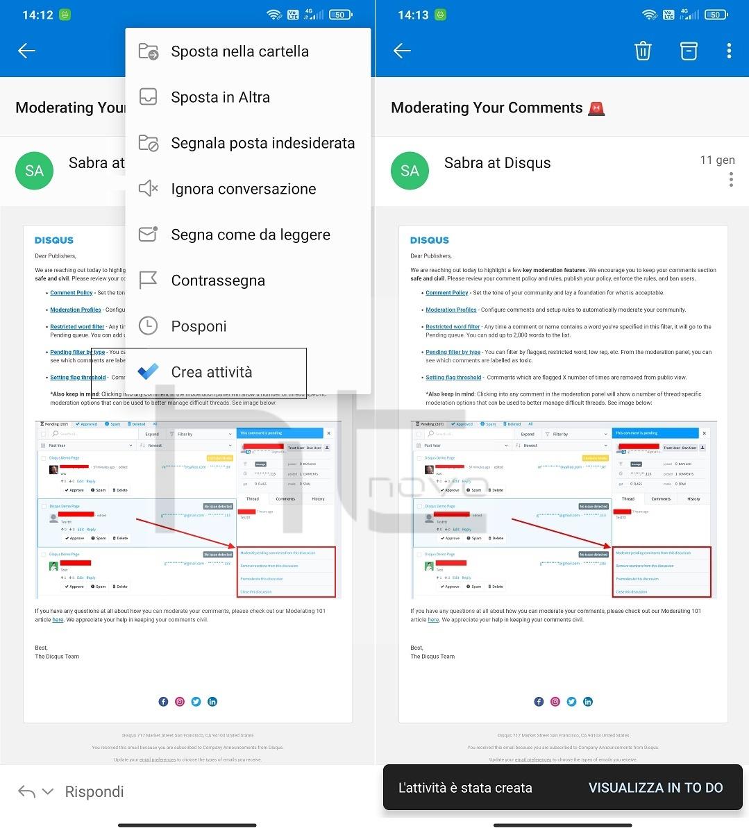 Outlook per Android consente di creare attività su To Do direttamente da una mail