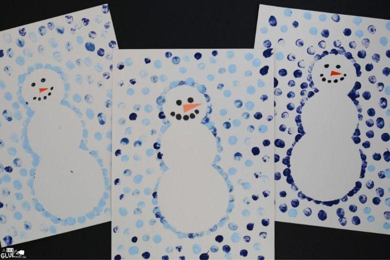 thumbprint snowman winter craft for kids