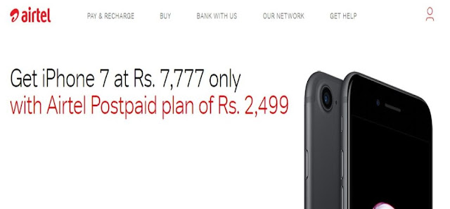 Airtel Diwali Offer - सपनो का फ़ोन आईफोन 7 सिर्फ 7,777 रुपये में