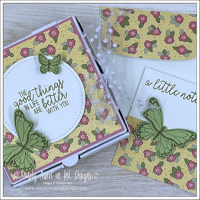 Springtime crafting to make a treat box and notecard with the Butterfly Gala stamp set and Ornate Garden Designer Series Paper.  Both retiring soon!