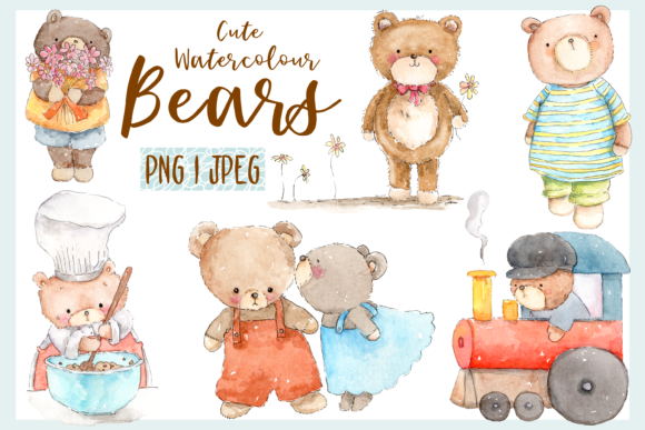 Cute Watercolour Bears Graphics
