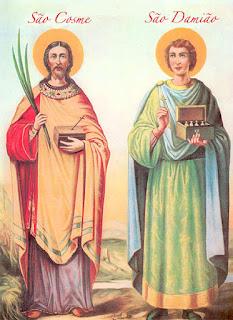 São Cosme e São Damião em ícone da Igreja Ortodoxa