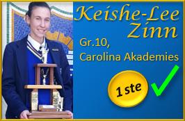 Keishe-Lee Zinn Gr.11, Carolina Akademies, Trofee-Wenner van die Graad 10-12 kategorie met die aanbieding van haar redenaars-toespraak!