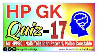 Himachal GK Quiz Series-17 for HAS HPPSC