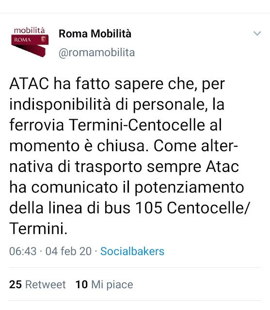 Situazione del trasporto pubblico di Roma di martedì 4 febbraio