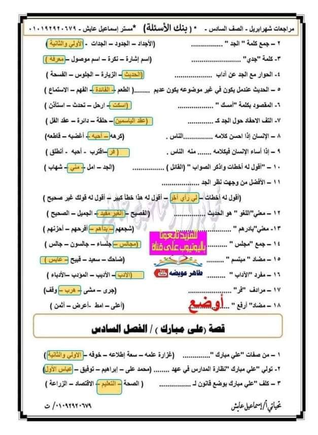أقوى مراجعة لغة عربية للصف السادس الإبتدائى ترم ثانى 2021 (أهم اسئلة اختيار من متعدد)