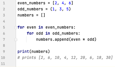Nested for loops in Python
