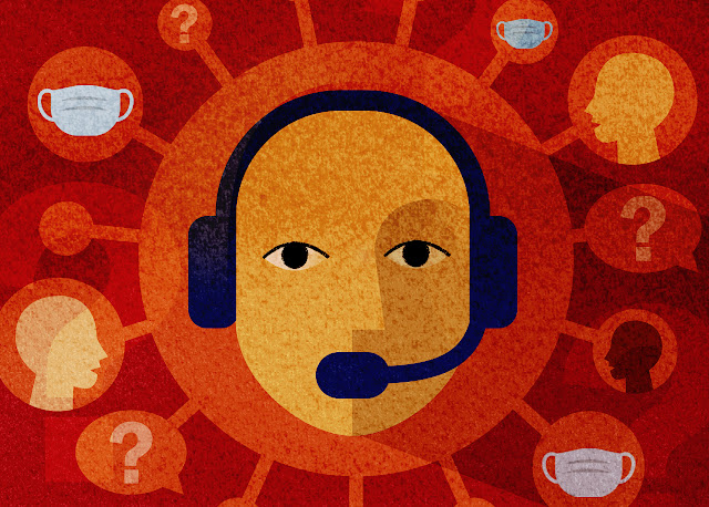 A graphic of a person with a headset on answering COVID-related questions