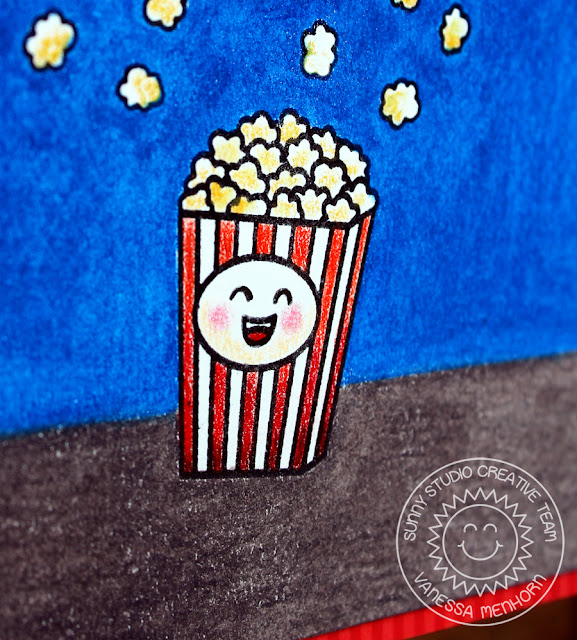 Sunny Studio Stamps: Fast Food Fun Happy Popcorn Bucket Colored Pencil Card by Vanessa Menhorn