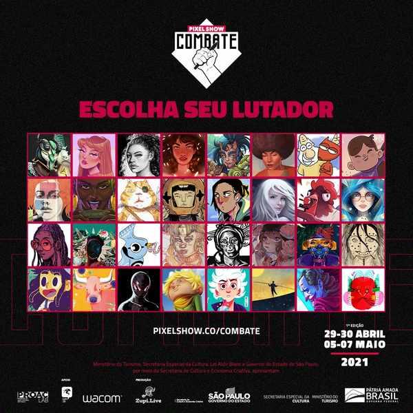 O Pixel Show, maior Festival de Criatividade da América Latina, organizado pela Zupi.Live, acaba de anunciar os 32 artistas selecionados para o Pixel Show Combate 2021, uma competição on-line de ilustrações voltada a estimular e divulgar artistas independentes, que ocorrerá de 29 de abril a 7 de maio.