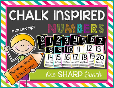 Jazz up your classroom with these chalk inspired number posters! Includes numbers 0-20 in numeral, ten frame, and word form. Printer friendly option also available!