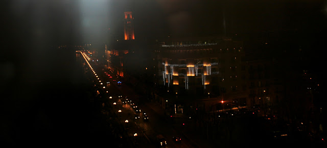 Bari, ruota panoramica, panorama di Bari, luci, traffico