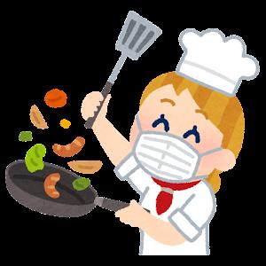 マスクを付けて料理をするシェフのイラスト(白人女性)