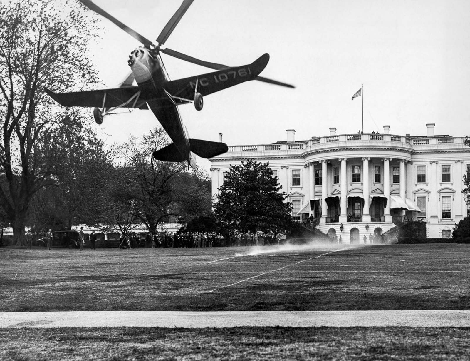 An autogyro takes off after landing on the White House lawn. 1931.