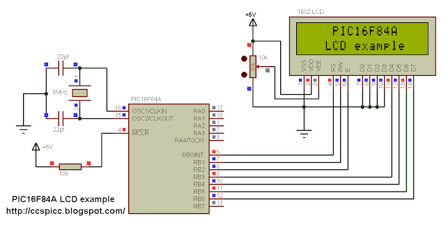 LCD interfacing with PIC microcontroller circuit ccs