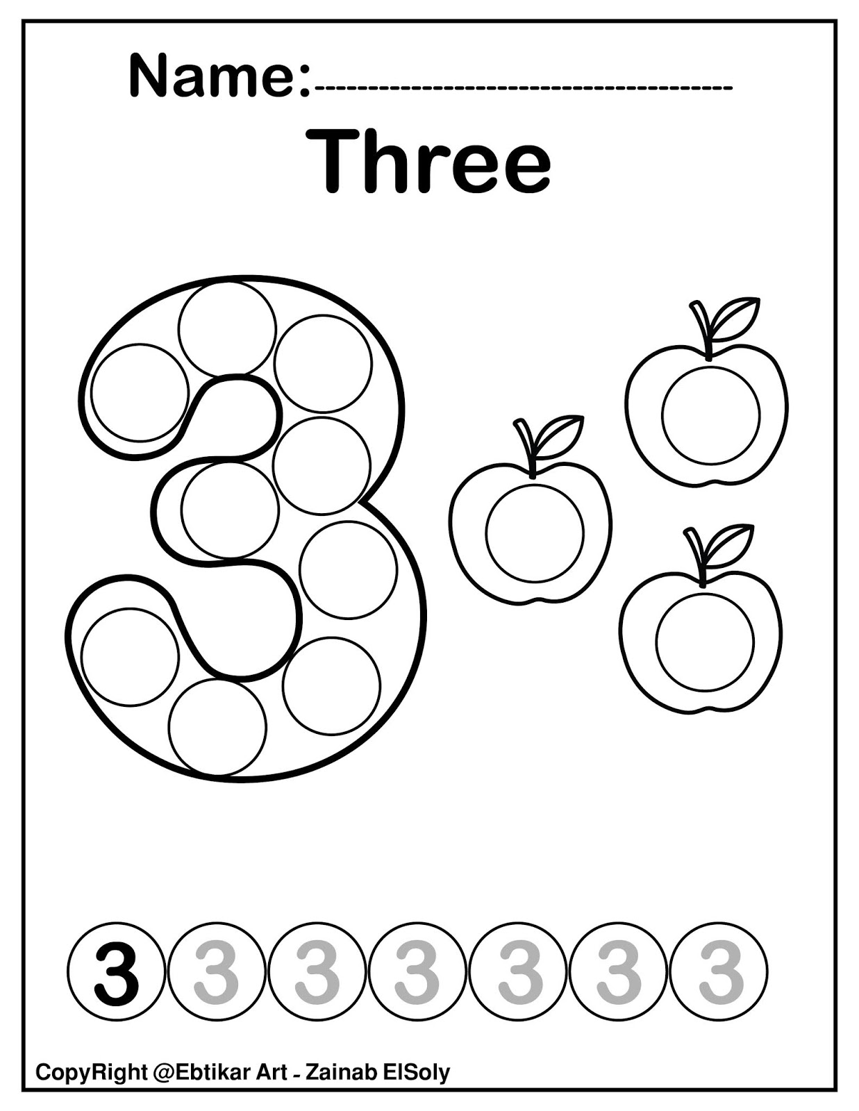 30 Number 3 Coloring Sheets