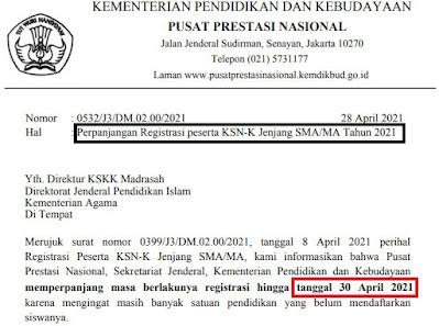 Surat Resmi Perpanjangan KSN-K SMA/MA