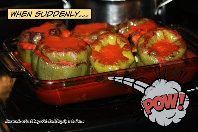 Stuffed bell peppers in a pan covered with tomato sauce | Stuffed Bell Peppers, fire roasted stuffed bell peppers, stuffed bell pepper recipe, stuffed bells, By Rosevine Cottage Girls | rosevinecottagegirls.com