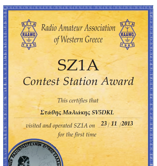 Awarded by SZ1A Contest Station ... what a great honour !!