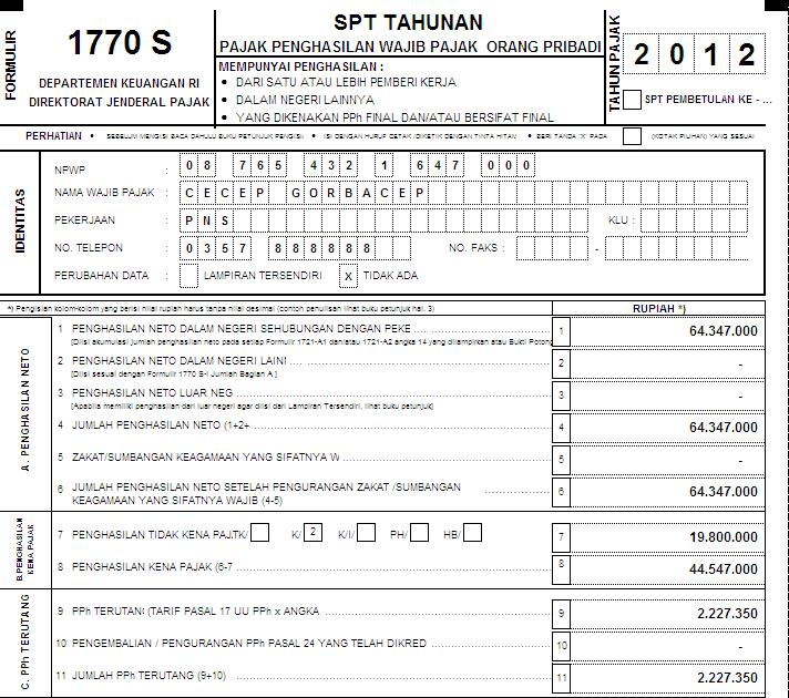 Kp2kp Pacitan Contoh Pengisian Spt Tahunan Pph Orang Pribadi Tahun Pajak 2012 Formulir 1770 S