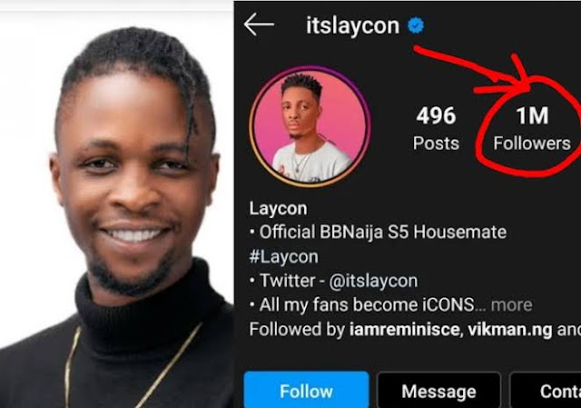 BBNaija: Laycon becomes the first ever housemate to reach 1million IG followers while still in the house