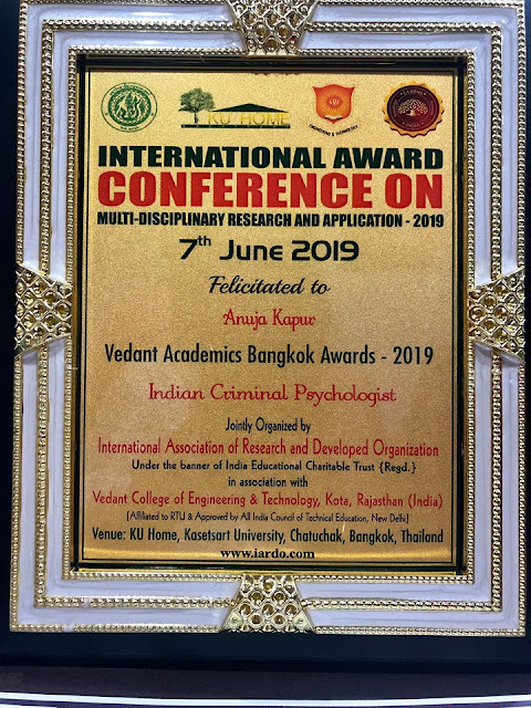 Renowned Criminal Psychologist Anuja Kapur awarded by Vedant Academics Bangkok Award 2019