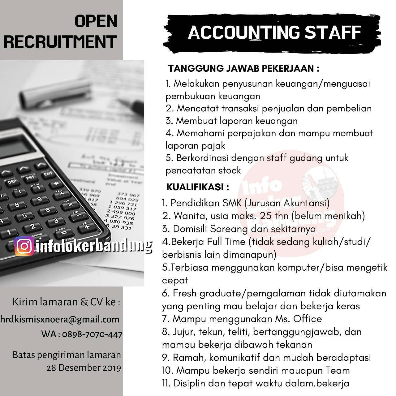 Lowongan Kerja Accounting Staff Noera X Kismis Bandung Desember 2019