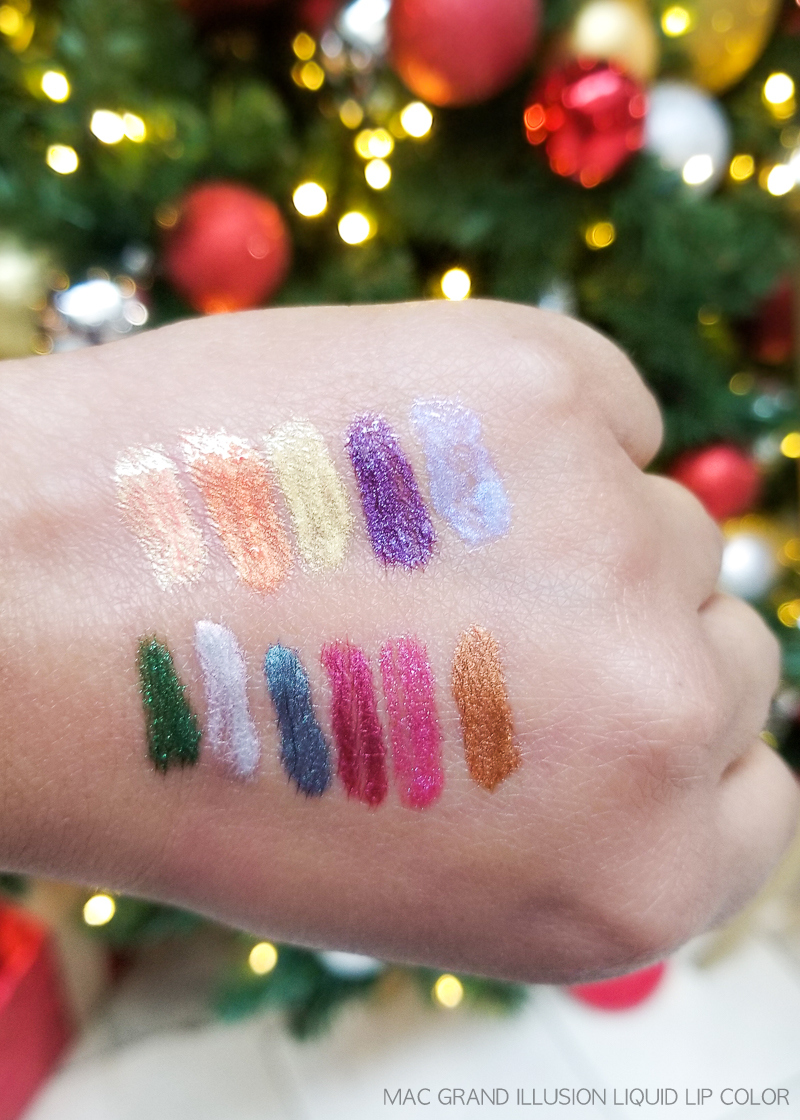 MAC Grand Illusion Liquid Lip Colours Lipgloss - Swatches - Peace Love Unity Respect - Broken Halo - Sensory Overload - Space Bubble - Pearly Girl - Gilded Age - Electric Rainbow - Twinkle Twink - Florescence - Queens Violet - Lunar Module