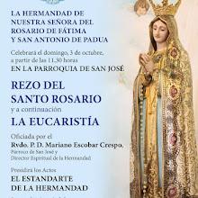 Rezo del rosario y eucaristía en honor a la Virgen de Fátima en San José