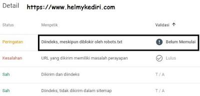 masalah di indeks meski diblokir robot.txt