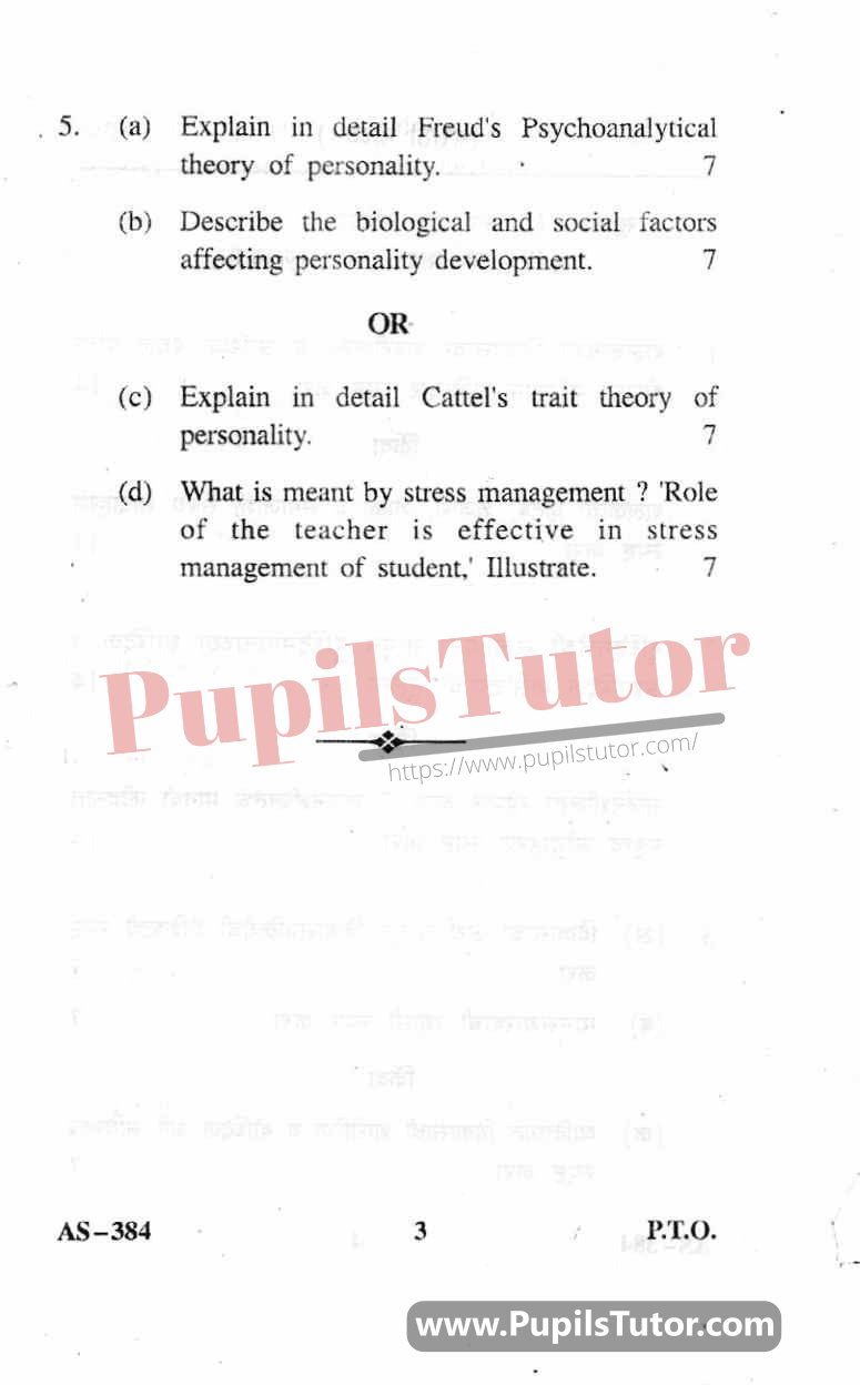 Childhood And Growing Up Question Paper In English