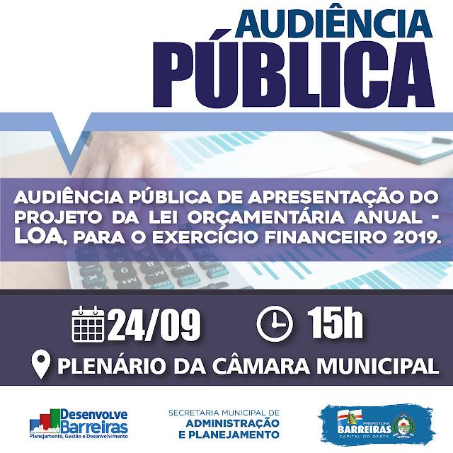 Projeto da Lei Orçamentária Anual (LOA) será apresentado para população e vereadores de Barreiras na segunda-feira (24)