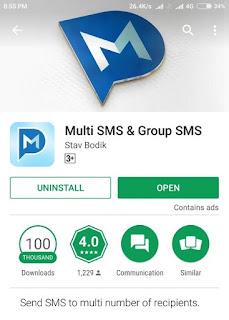 Aplikasi Android SMS Ke banyak Orang tersedia di Google Playstore