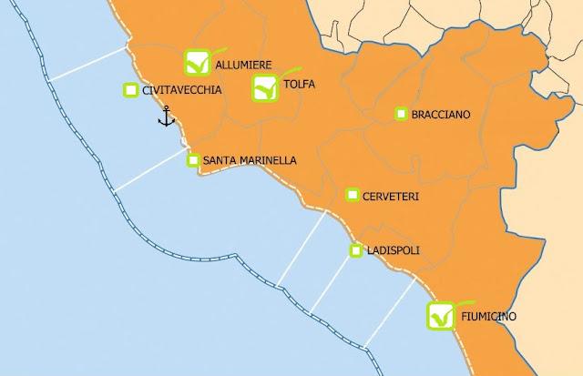 cartina del litorale nord con segnalati i comuni che hanno approvato la mozione