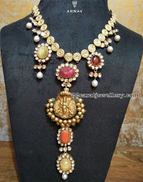 Polki Necklace with Gemstones