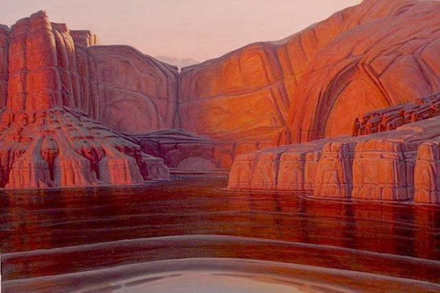 Lake Powell painting, original art, sunset water, cove, pink sky
