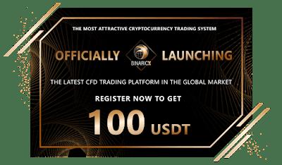 BinaricX $100 USDT Crypto No Deposit Bonus
