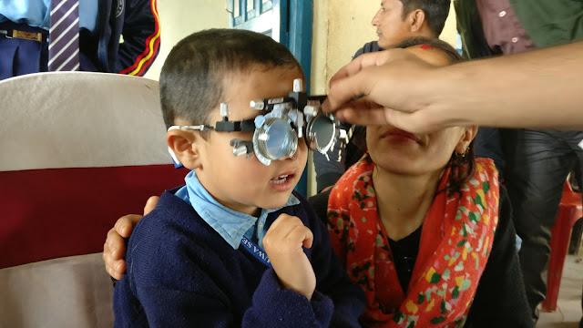 Refraction of a Nepali school boy by optometrist