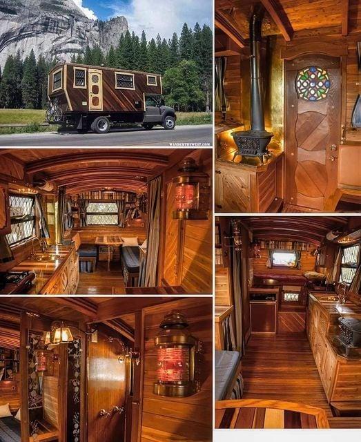 Wood interior camper truck