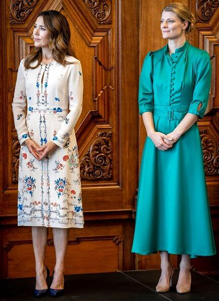 Crown Princess Mary wore a floral print midi dress from Vilshenko. Princess Mary wore Vilshenko Jerry floral print silk dress
