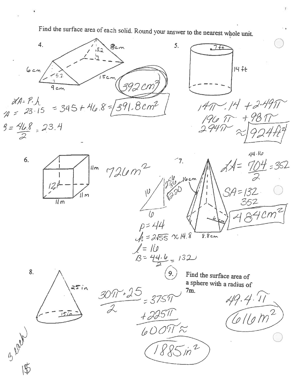 Math Classes Spring 2012: Geometry - Quiz on Surface Area