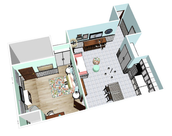 one bedroom floor plan, 3d layout