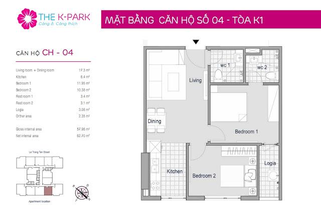 Thiết kế căn hộ 04 - Dt 57m2 - 02 phòng ngủ