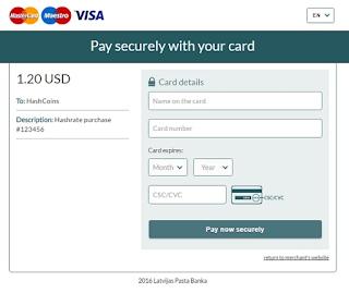 Sử dùng thẻ tín dụng mua Hashrate trong Hashflare