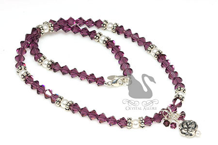 65 Roses Crystal Cystic Fibrosis Awareness Necklace (N088)