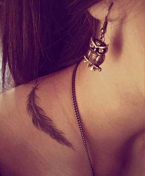 neck feather tattoo