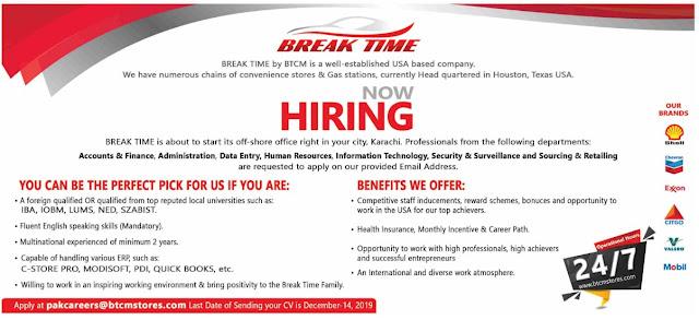 USA Based Company Break Time Jobs 2019