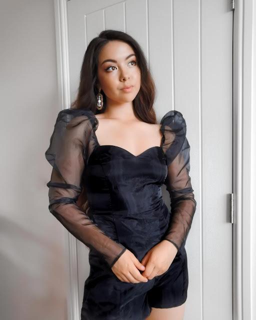 Femme Luxe Black Mesh Sleeve Playsuit