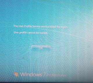 Solusi error login windows 7