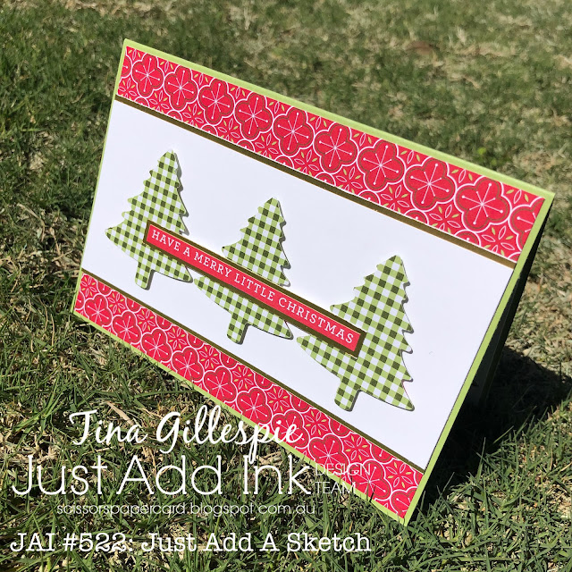scissorspapercard, Stampin' Up!, Just Add Ink, Heartwarming Hugs DSP, Trimming The Town DSP, Gold Foil, Pine Tree Punch, Itty Bitty Christmas